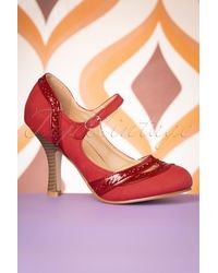 Banned Retro 50s Angel Dust Mary Jane Pumps - Rood
