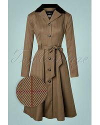 Collectif Clothing 40s Nala Herringbone Coat - Bruin