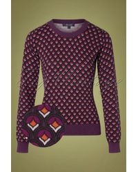 King Louie 60s Agnes Pose Top - Paars
