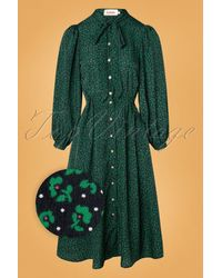 Louche 70s Zuri Lucky Flower Midi Dress - Groen