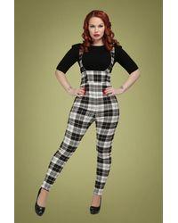 Collectif Clothing 50s Karen Monochrome Check Suspender Trousers - Zwart