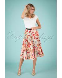 Closet 50s Marilyn Leaves Pleated Skirt - Rood