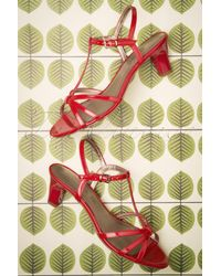 Tamaris 50s Patent Strappy Sandals - Rood