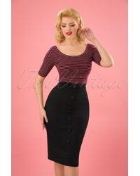Collectif Clothing 50s Bettina Pencil Skirt - Zwart