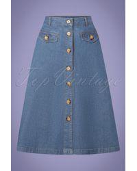 King Louie 60s Caroll Chambray Skirt - Blauw