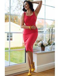 Miss Candyfloss 50s Rim Pencil Dress - Roze