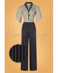 Miss Candyfloss 50s Ariadne Striped Jumpsuit - Blauw