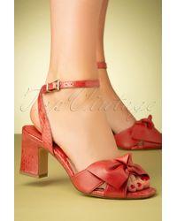 Tamaris 60s Rosaly Bow Block Heel Sandals - Rood