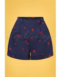 Collectif Clothing 50s Jojo Starfish Shorts - Blauw