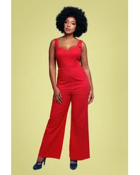 Collectif Clothing 50s Ariana Jumpsuit - Rood