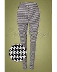 Collectif Clothing 50s Odilia Houndstooth Skinny Trousers - Meerkleurig