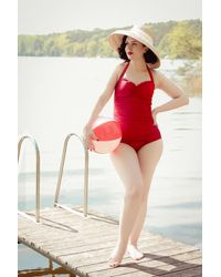Esther Williams Swimwear Classic Fifties One Piece Swimsuit - Rood