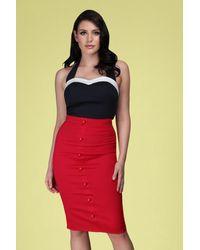 Collectif Clothing 50s Bettina Pencil Skirt - Rood