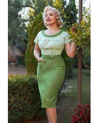 Miss Candyfloss 50s Esme Shamrock Pencil Dress - Groen