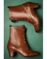 Miz Mooz 40s Fabian Leather Ankle Booties - Bruin