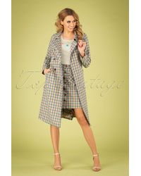 King Louie 60s Edith Maverick Check Coat - Meerkleurig