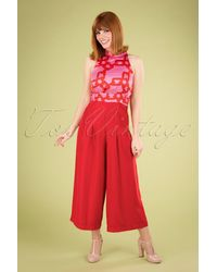 Traffic People 70s Divided Jumpsuit - Rood