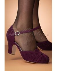 Miss L-fire 40s Amber Suede Mary Jane Pumps - Paars