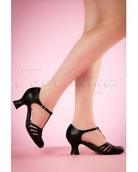 Bettie Page 50s Lucy T-strap Pumps - Zwart