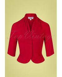 Miss Candyfloss 50s Liza Lou Blazer Jacket - Rood