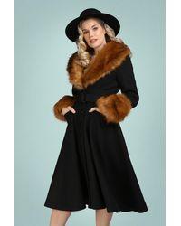 Collectif Clothing 40s Jackie Princess Coat - Zwart