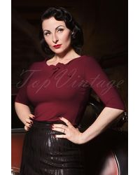 heart of haute 50s Lily Bow Top - Rood