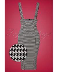 Collectif Clothing 50s Karen Houndstooth Suspender Pencil Skirt - Zwart