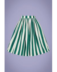 Collectif Clothing 50s Jasmine Glade Stripe Swing Skirt - Meerkleurig