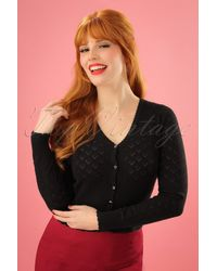King Louie 40s Heart Ajour Cardigan - Zwart