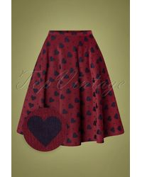 Circus by Sam Edelman 60s Hatty Hearts Swing Skirt - Rood
