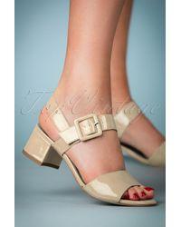 Tamaris 60s Dorothy Patent Block Heel Sandals - Blauw