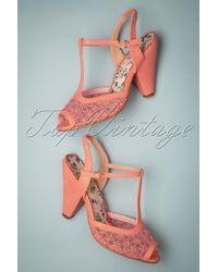 Bettie Page 50s Brooklyn T-strap Peeptoe Sandals - Roze