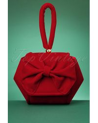 Collectif Clothing 50s Felicity Bow Clutch Bag - Rood