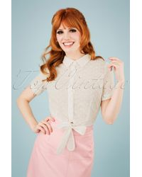 Collectif Clothing 50s Sammy Broderie Anglaise Tie Blouse - Meerkleurig