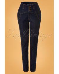 Collectif Clothing 50s Rebel Kate High Waist Denim Pants - Blauw
