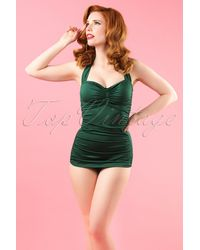 Esther Williams Swimwear 50s Classic Fifties One Piece Swimsuit - Groen