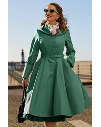Miss Candyfloss 50s Lorin Tiffany Swing Trenchcoat - Groen