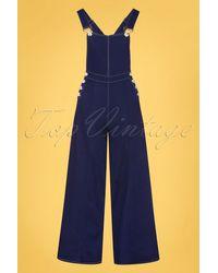 Collectif Clothing 50s Thelma Denim Dungarees - Blauw