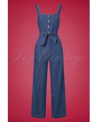 King Louie 70s Ines Chambray Jumpsuit - Blauw