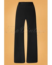 vintage chic for topvintage 40s Viola Wide Trousers - Zwart