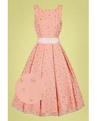 Collectif Clothing 50s Vanessa Stars Swing Dress - Roze