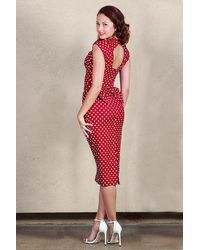 Stop Staring! 50s Love Polkadot Bow Pencil Dress - Rood