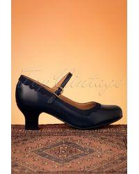 Miz Mooz 50s Tinka Leather Mary Jane Pumps - Blauw