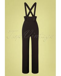 Collectif Clothing 50s Ronnie Dungarees - Zwart
