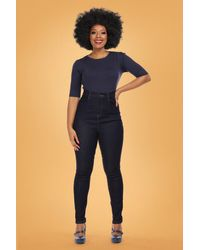 Collectif Clothing 50s Lulu Skinny Jeans - Blauw