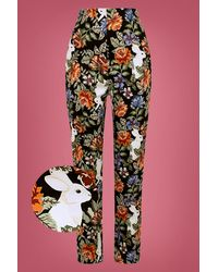 Collectif Clothing 50s Bonnie Forest Floral Trousers - Meerkleurig