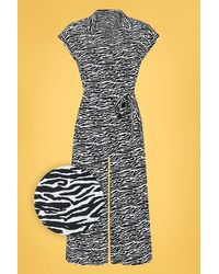 Collectif Clothing 70s Jodie Zebra Jumpsuit - Zwart