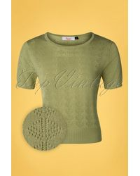 Banned Retro 50s Bow Knit Top - Groen