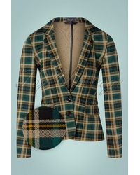 King Louie 60s Daisy Rodeo Check Blazer - Groen