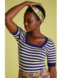 King Louie 50s Square Top Classic Stripe - Blauw